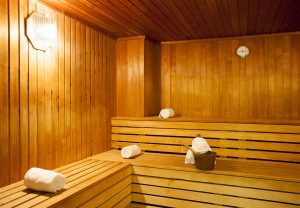 Finnish sauna with three tiers of seating