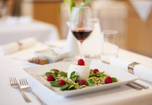 Enjoy one of our tasty, refreshing starters, such as feta cheese on a leafy salad, finely garnished with raspberries