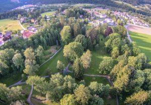 The hotel with its fabulous park – photo taken by drone