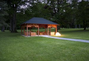 LED light spheres set the mood for the evening in our gazebo