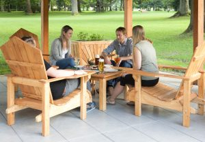 Our wooden gazebo is the perfect place to stop and rest a while or have a drink and a bite to eat, with wooden tables and chairs made here at the hotel