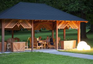 After working hard, the gazebo is the perfect place for discussing what you've learned